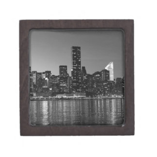 Black White New York City Skyscapers Silhouette Jewelry Box