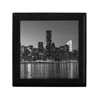 Black White New York City Skyscapers Silhouette Keepsake Box