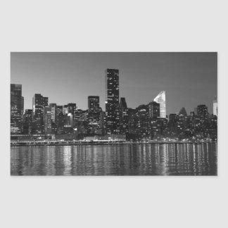 Black White New York City Skyscapers Silhouette Rectangular Sticker