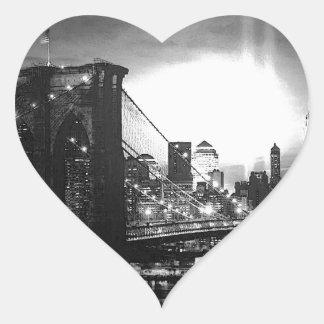 Black & White New York City Heart Stickers