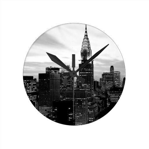 Black & White New York Round Wall Clock