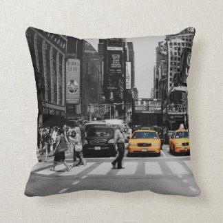 black & white new york cushion taxi cab yellow pillow