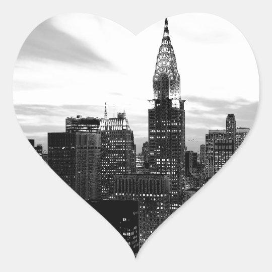 Black & White New York Heart Sticker