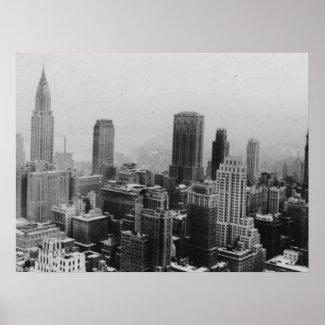 Black White New York Manhattan Panorama Poster