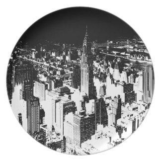 Black & White New York Melamine Plate