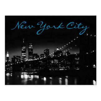 Black White New York Night Blue Script Postcard