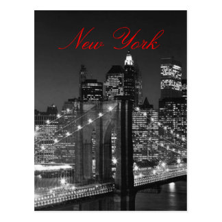 Black & White New York Red Script Post Card