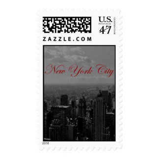 Black & White New York Red Script Postage Stamps