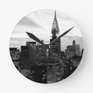 Black & White New York Round Clock