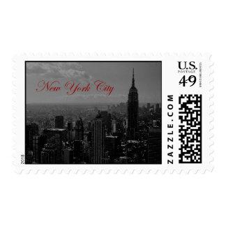 Black & White New York Script Postage Stamps
