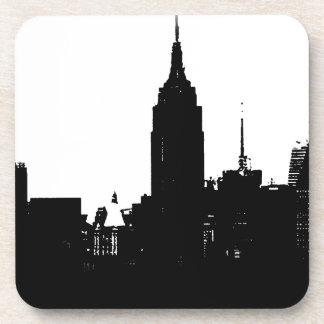 Black White New York Silhouette Beverage Coaster