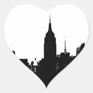 Black White New York Silhouette Heart Sticker