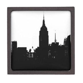 Black White New York Silhouette Keepsake Box