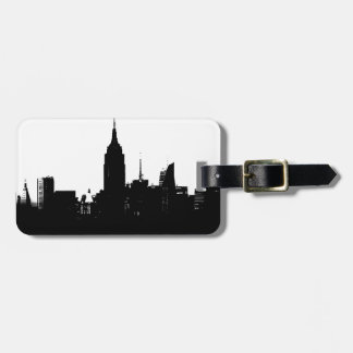Black White New York Silhouette Luggage Tag