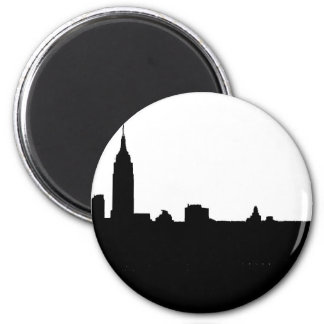 Black White New York Silhouette Refrigerator Magnet
