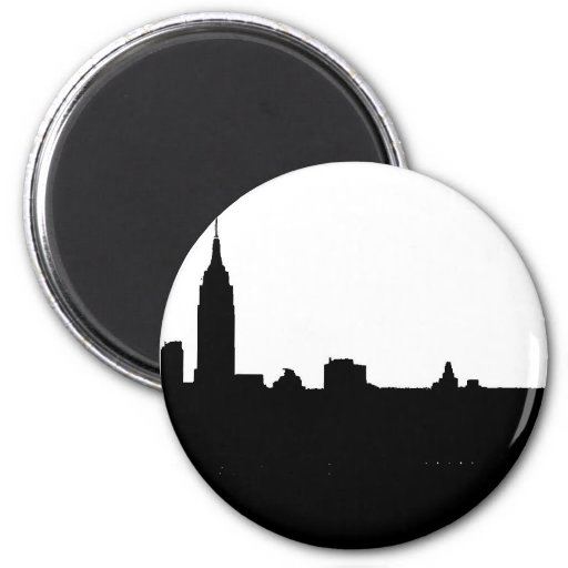 Black & White New York Silhouette Refrigerator Magnet