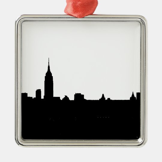 Black & White New York Silhouette Metal Ornament