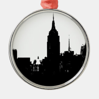 Black White New York Silhouette Metal Ornament