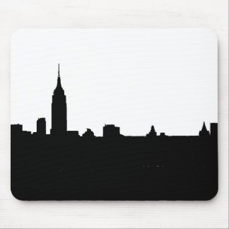 Black & White New York Silhouette Mouse Pad