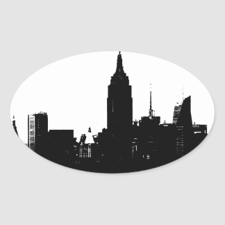 Black White New York Silhouette Oval Sticker