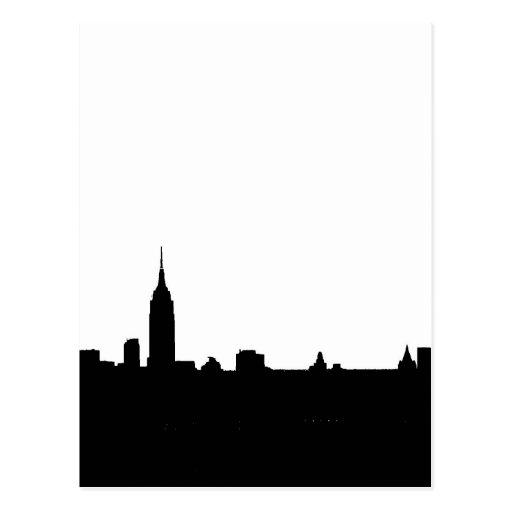 Black & White New York Silhouette Post Cards