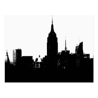 Black White New York Silhouette Postcard