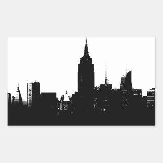Black White New York Silhouette Rectangular Sticker