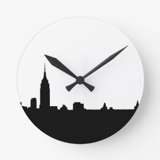 Black & White New York Silhouette Round Clock