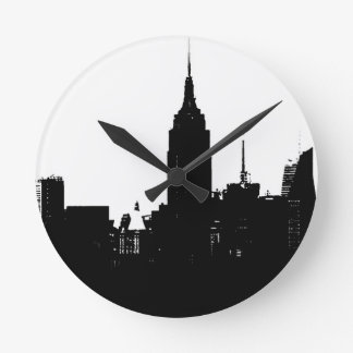 Black White New York Silhouette Round Clock