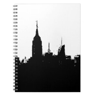 Black White New York Silhouette Skyline Notebook