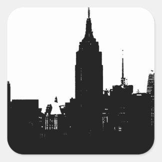 Black White New York Silhouette Square Sticker
