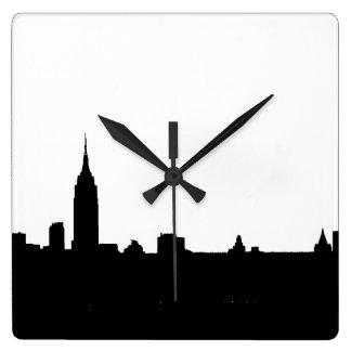 Black & White New York Silhouette Square Wallclock