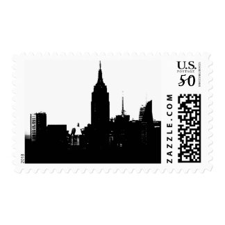 Black White New York Silhouette Stamp