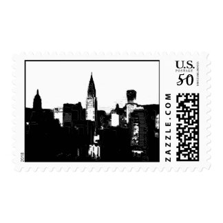Black & White New York Silhouette Stamps