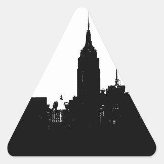 Black White New York Silhouette Triangle Sticker