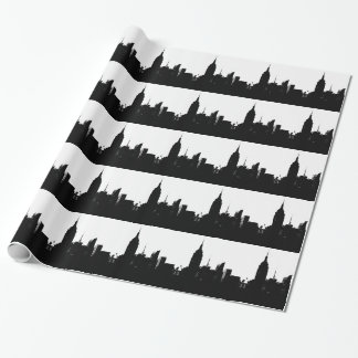 Black White New York Silhouette Wrapping Paper