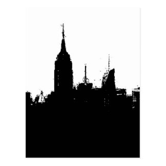 Black White New York Skyline Silhouette Post Card