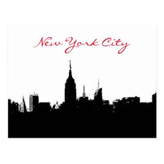 Black White New York Skyline Silhouette Postcard