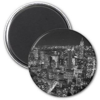 Black & White New York Skyscrapers 2 Inch Round Magnet