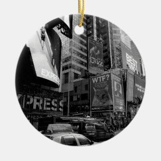 Black White New York Times Square Ceramic Ornament