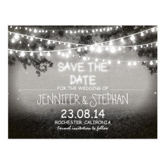 black & white night lights romantic save the date postcard