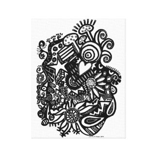 Black & White No 2 Abstract Doodle Canvas Print