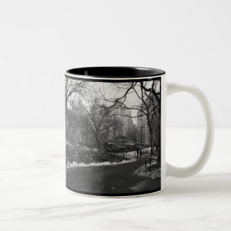 Black White NY Central Park Two-Tone Coffee Mug