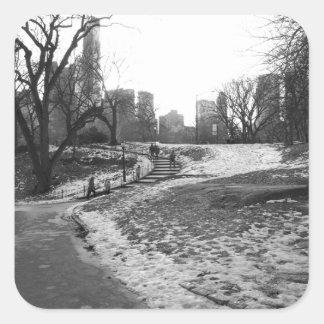 Black White NY Central Park nr 1 Square Sticker