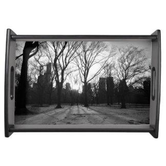 Black White NY Central Park nr 5 Serving Platters