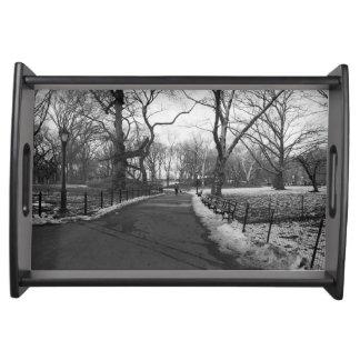 Black White NY Central Park Service Trays