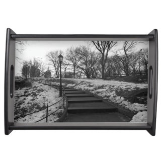Black White NY Central Park Serving Trays