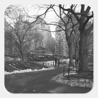 Black White NY Central Park Square Sticker