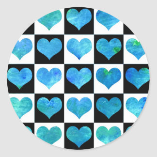 Black & White Ocean Hearts Sticker