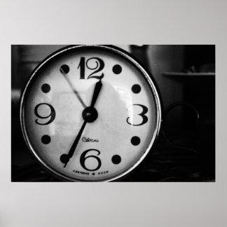 Black & White Old Clock Poster
